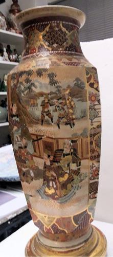 antiguo oriental enorme jarrón cerámica japonesa satsuma