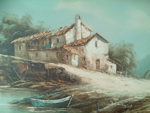 antigüo paisaje al oleo , español, con firma