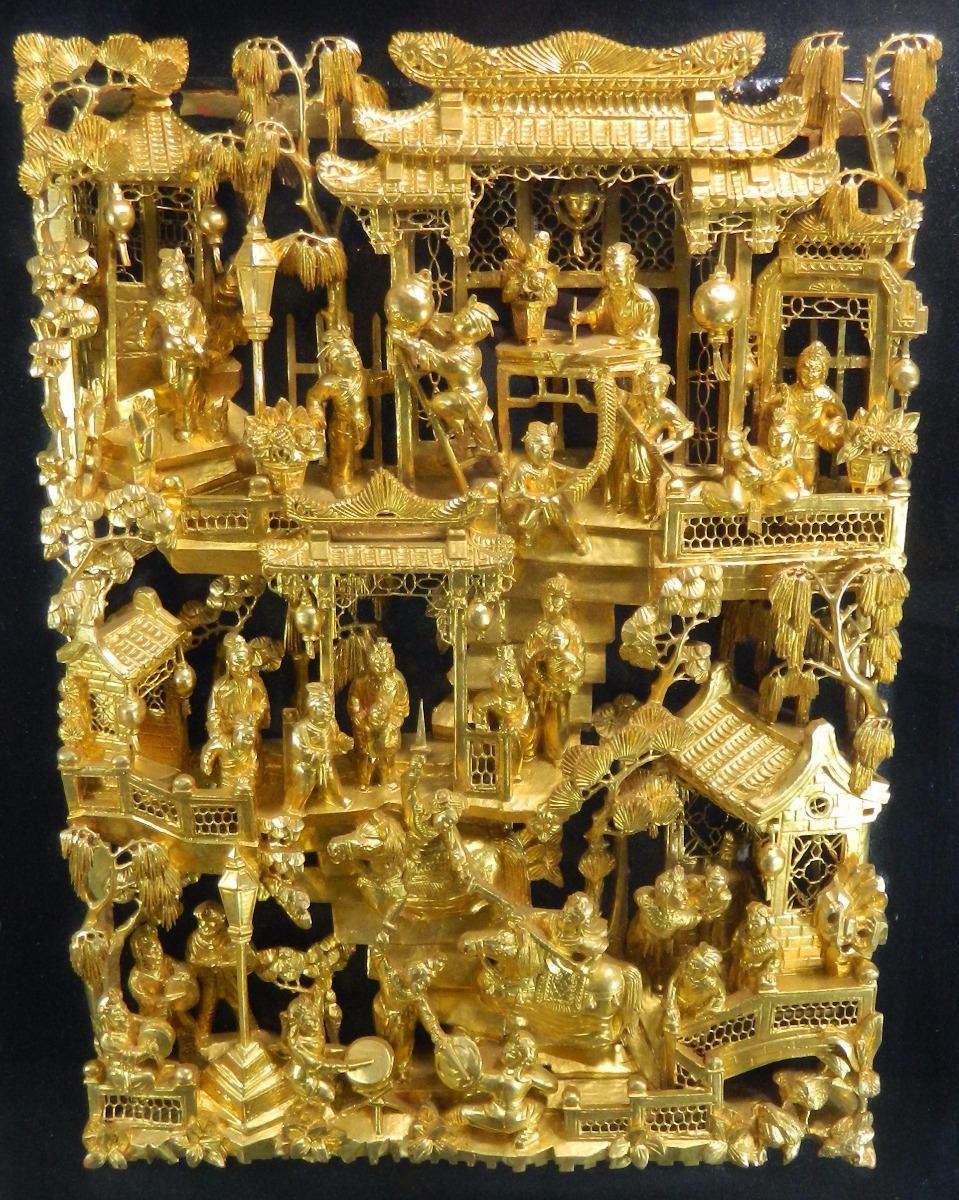 Antiguo Panel Chino # 4 Madera Tallada Hoja De Oro Enmarcado ...