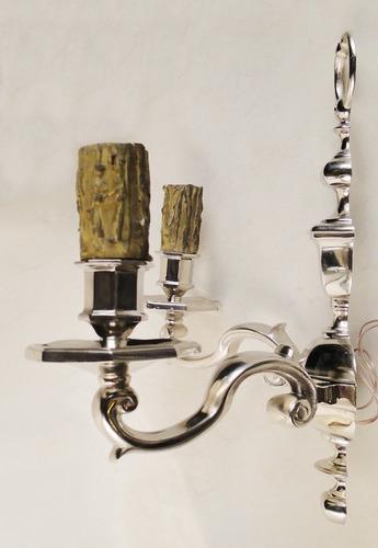 antiguo par apliques frances bronce plateados 2 velas