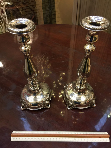 antiguo par candelabros plata 800 alemania c. 1900 34 centím