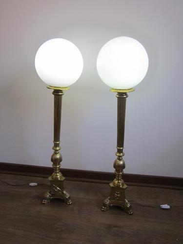antiguo par de candelabros bronce de iglesa