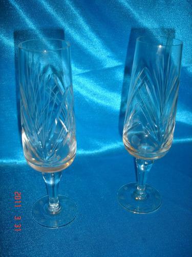 antiguo par de  copas  flautas talladas semicristal  (3246a)