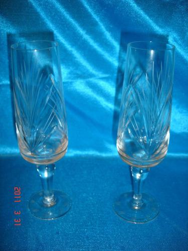 antiguo par de  copas  flautas talladas semicristal  (3246p)