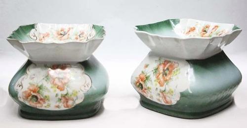 antiguo par de maceteros cachepot en porcelana alemana joya