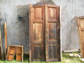 Antiguo Par De Puertas En Madera Ideal Para Su Quinta