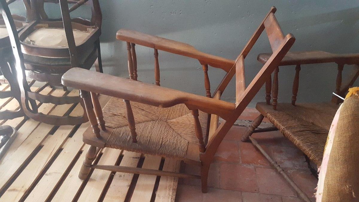 Antiguo Par De Sillones Provenzal En Madera Maciza 3 900 00 En  # Petit Muebles Haedo