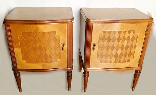 antiguo par mesas de luz francesas caoba rubia marqueterie