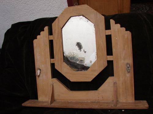 antiguo perchero de madera con repisa y espejo de colgar imp