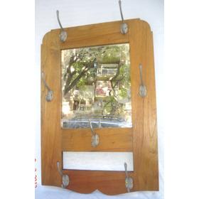 Antiguo Perchero Roble Con Espejo Ideal Toque Retro (90b)