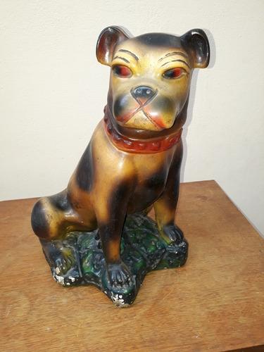 antiguo perro alcancia de yeso