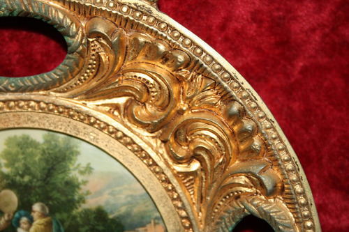 antiguo plato camafeo marco cuadro bronce porcelana