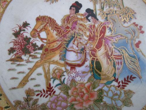 antiguo plato con graficos  chinos de coleccion unico