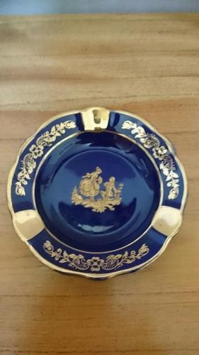antiguo plato de porcelana - limoges - azul cobalto con oro