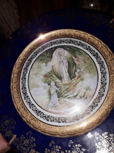 antiguo plato decorativo religioso limoge francia