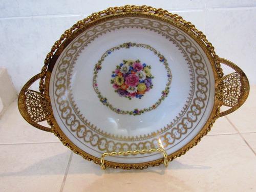 antiguo plato  flores porcelana con orilla filigree