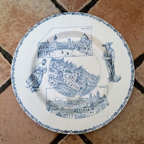 antiguo plato francés con imagenes de méxico siglo xix