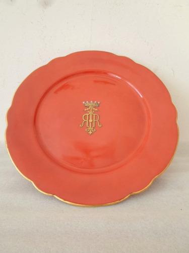 antiguo plato para torta c/ pie porcelana francesa c1870 (1)