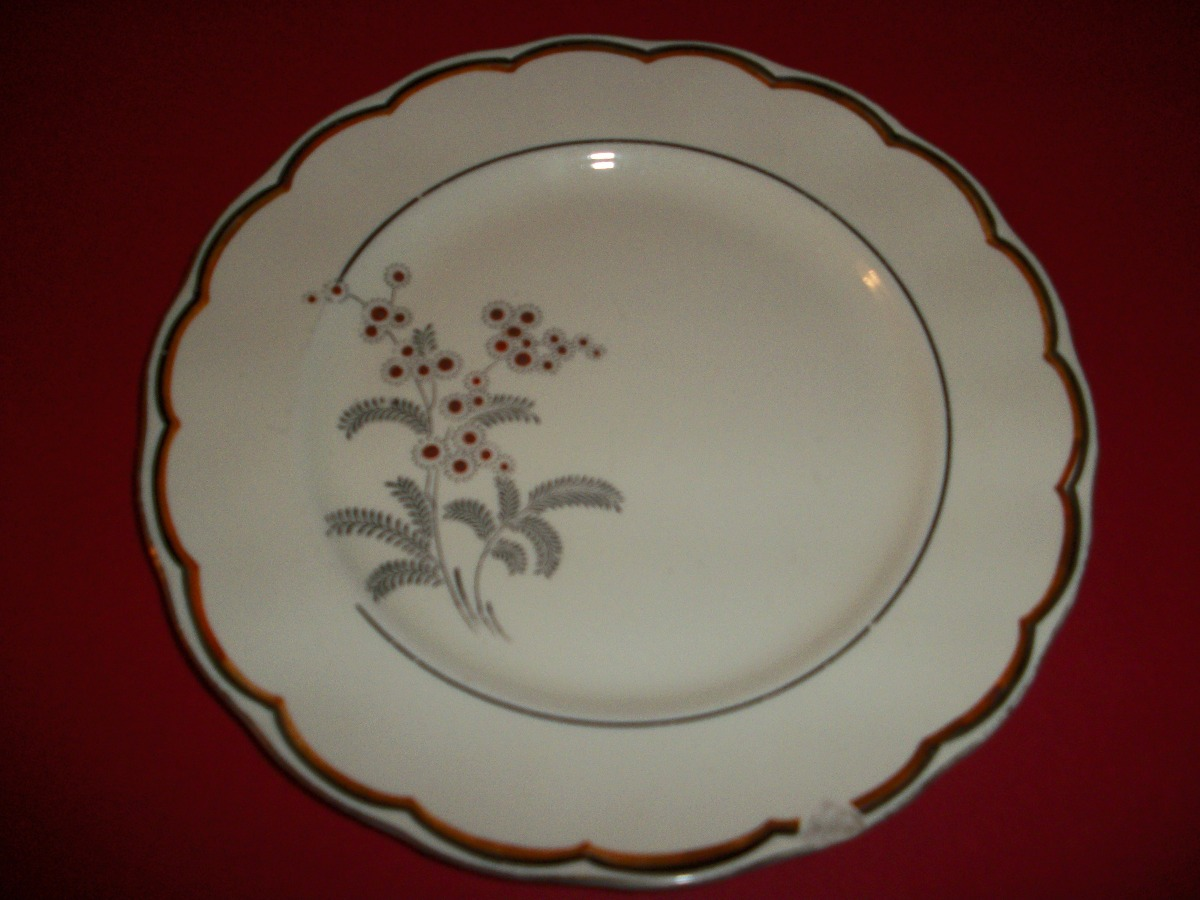 Antiguo plato porcelana pintado a mano borde de oro 80 for Platos porcelana