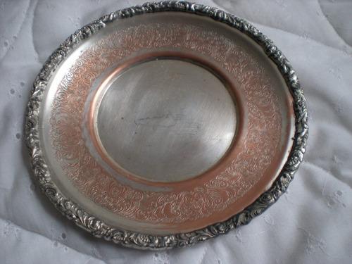 antiguo plato rep. sheffield 16cm cobre bañado en plata