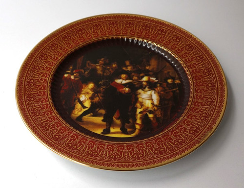 antiguo plato tsuji homenaje rembrandt porcelana oro 24 k