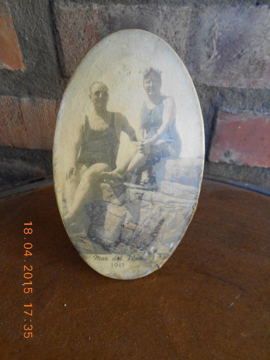 Antiguo Porta Retrato De Lata Y Celuloide Mar Del Plata 1941 - $ 150 ...
