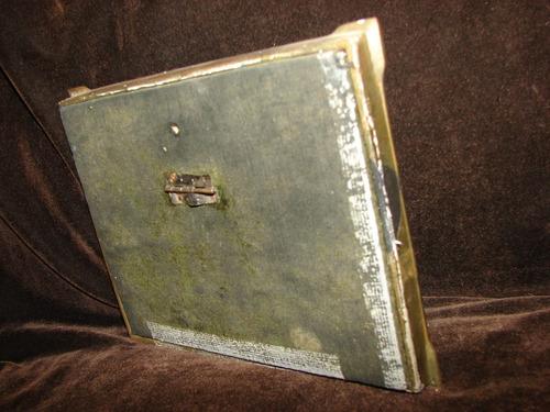 antiguo portarretrato de bronce doble impecable