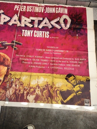 antiguo poster de cine espartaco - peru - 1960