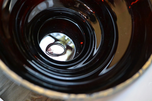 antiguo potiche caramelera de vidrio tornasolado