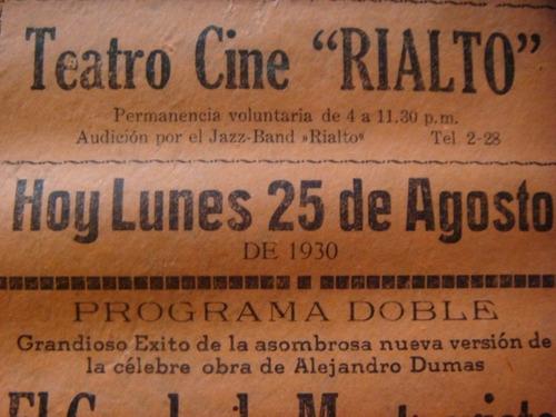 antiguo programa de cine primeras peliculas sonoras en 1930