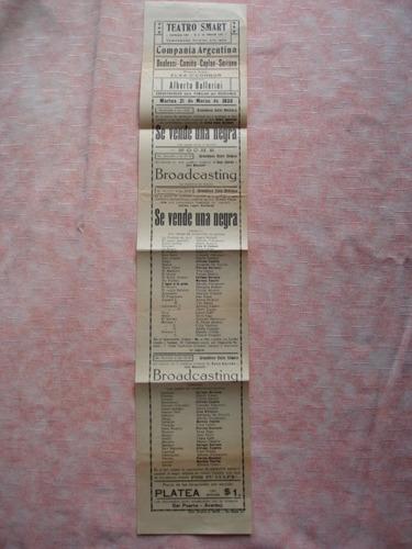 antiguo programa de teatro smart año1933, se vende una negra