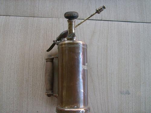 antiguo pulverizador fumigador  de bronce marca potente