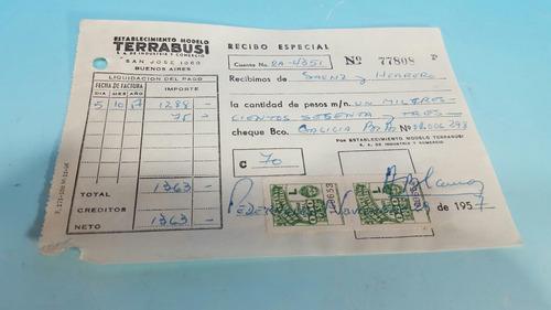 antiguo recibo especial estabecimientos terrabusi con sellos