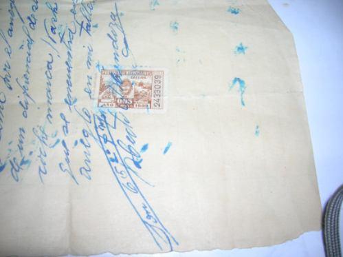 antiguo recibo manuscrito chivilcoy 1940 sello fiscal estamp
