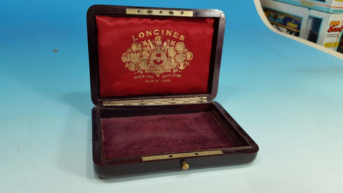 antiguo reloj caja de madera longines grand prix año 1900