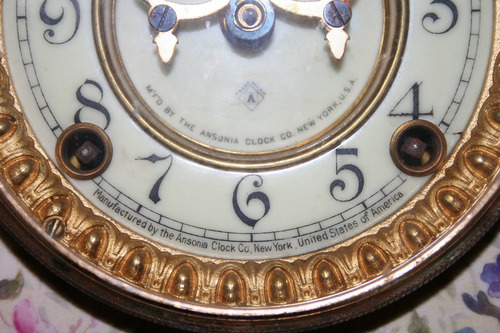 antiguo reloj clock ansonia bonn porcelana germany reg.1882