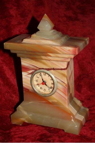 antiguo reloj clock piedra semipreciosa onix amarillo