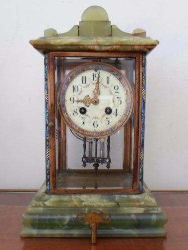 antiguo reloj de mesa frances marmol y bronce esmaltado sxix