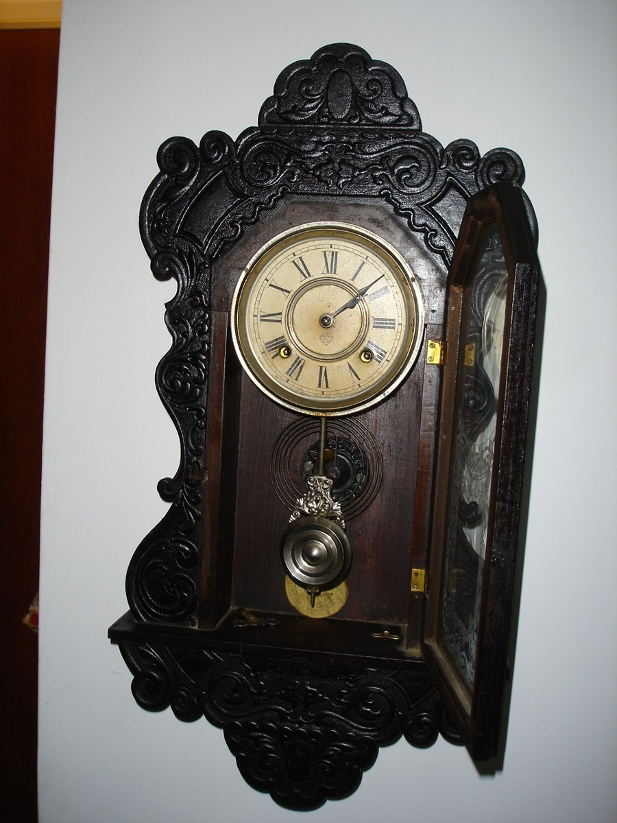 Antiguo Reloj De Pared Ansonia Usa Madera Labrada 5 900 00 En