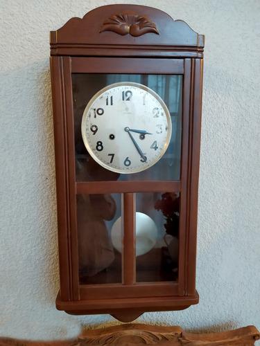 antiguo reloj de pared junghans art deco madera péndulo llav