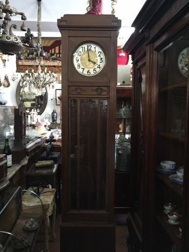 antiguo reloj de pie medio carrillon con llave original