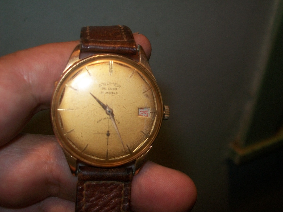 8ac915e76588 antiguo reloj de pulsera suizo a cuerda andher de caballero. Cargando zoom.