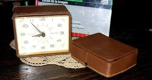 antiguo reloj de viaje  seth thomas pila estuche (2204)