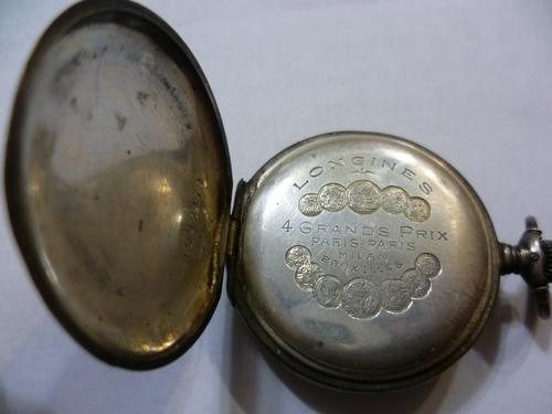 antiguo reloj en  plata para dama incrustación  angel en oro