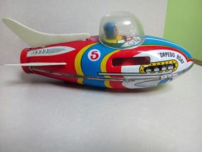 Juguete De Lata 70 Antiguo Torpedo Retro Boat Años f6b7gy