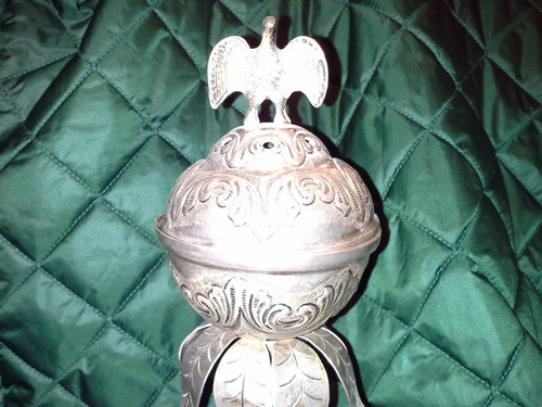 antiguo sahumador colonial de plata repujada con 2 condores