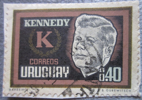 antiguo sello uruguay presidente kenedy usa
