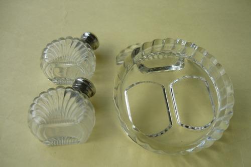 antiguo servicio para mesa, salero y pimientero en plata ing