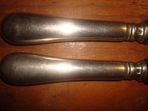 antiguo set de cuchilla y pincho alpaca sellado ideal asador