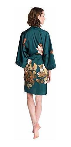 antiguo shanghai bata kimono corto para mujer flores en acua